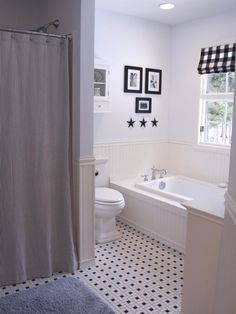 13 Black and White Bathrooms : Rooms : Home & Garden Television  Ticking Shower Curtain - Buffalo Checks - black stars