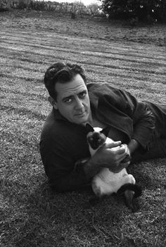 Raymond Burr at home with his Siamese cat circa 1960s