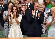 Kate and William applaud for Andy Murray as he leaves the game after losing to Grigor Dimitrov on July 2, 2014.