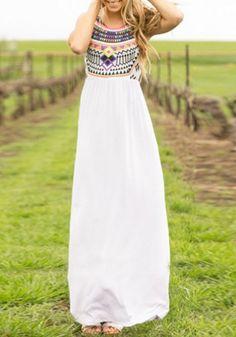 White Floral Round Neck Sleeveless Fashion Maxi Dress
