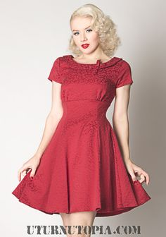 Dark Red Round Collar Elegant Dress /Pin Up / Rockabilly [The Doris Dress] - $59.99 : Uturn Utopia, Retro footwear, Rockabilly Shoes, Vintage Inspired Clothing, jewelry, Steampunk