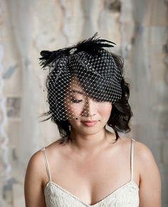 black bridal headpiece
