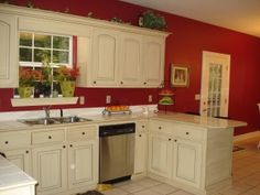Image result for red kitchen walls with white antiqued cabinets ...