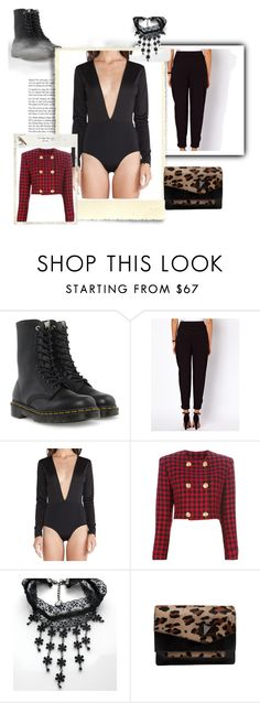 """Sem título #12681"" by nathsouzaz ❤ liked on Polyvore featuring Dr. Martens, ASOS, AQ/AQ and Versace"