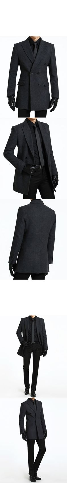 Outerwear :: Coats :: Sharp & Classic Double Wool Peaked Lapel-Coat 56 - Mens Fashion Clothing For An Attractive Guy Look