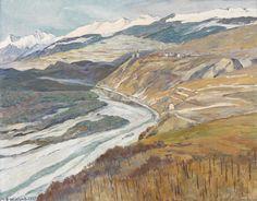 Hans Beat Wieland (Swiss, 1867-1945), Vorfrühling im Rhonetal [Springtime in the Rhône Valley], 1939. Oil on canvas, 67.5 x 87 cm.