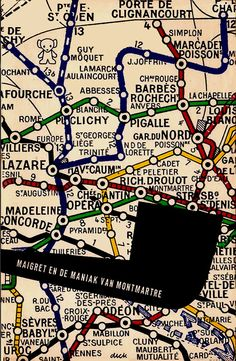 Book cover design by Dick Bruna, 1965. 'Maigret en de maniak van Montmartre' by Georges Simenon.