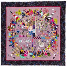 """Round the Garden"". Quilt featuring wool felt applique by Wendy Williams / marvelous:-)"