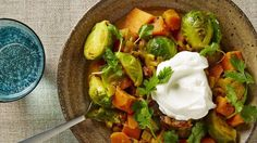 Curried Brussels Sprouts, Chickpeas, and Sweet Potatoes Recipe   Bon Appetit l #fallrecipes