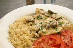 Creamy Chicken Marsala with Mushrooms: Creamy chicken marsala with rice.