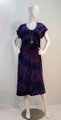 9cd47a13c03 M purple tie dye nightgown sleep dress lounger in bamboo cotton spandex  fabric