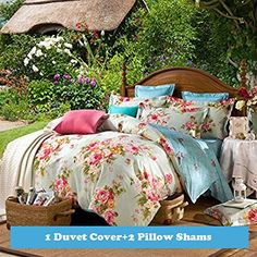 3-pieces Green Yellow Pink Blue Peony Flowers Floral for Girls Printed Duvet Cover Set