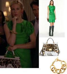 On Lily: Diane von Furstenberg Agata Dress, Dolce & Gabbana Miss Sicily Classic Bag, Kenneth Jay Lane Hammered Chain Bracelet