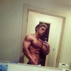 Joss Mooney - blond fitness hunk does a shirtless bathroom selfie