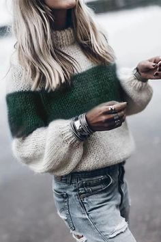 Winter Knitted Sweater Women Fashion Color Block Striped Jumper Pullover Autumn Long Sleeve Streetwear Sweaters Female Plus Size Fluffy Sweater, Mohair Sweater, Pullover Sweaters, Knitting Sweaters, Cardigans, Women's Sweaters, Striped Sweaters, Knit Sweater Outfit, Oversized Sweaters