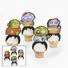 Zombie Cupcake Toppers. It weirdly looks like they're riding them, but still super cute.