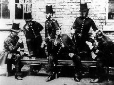 Manchester Police peelers relaxing photographed around This is one of the very earliest images of policing in the Greater Manchester Area. The foundation of British policing was greatly influenced by some-time Home Secretary and Prime Minister, Victorian Life, Victorian London, Vintage London, Old London, Victorian Photos, London History, British History, World History, Asian History