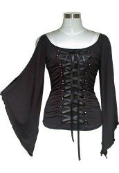 Eww...want.  Gothic Rockabilly black Lace up Corset Top w/ Fairy Sleeves $32.95