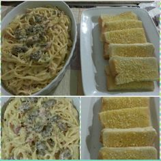 Carbonara and Garlic bread