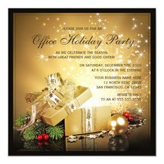 Office Holiday Party Invitations This office holiday party invitation template features a festive design with an exploding golden gift box with sparkling stars and lightbeams Christmas Gift Exchange, Office Christmas Party, Holiday Parties, Christmas Holiday, Christmas Ideas, Holiday Decor, Christmas Party Invitation Template, Christmas Party Invitations, Invitation Templates