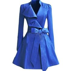 Blue Bowknot Lapel Slim Plain Trench-coats ($28) ❤ liked on Polyvore featuring outerwear, coats, slim trench coat, slim fit long coat, patterned trench coat, blue trenchcoat and print coat