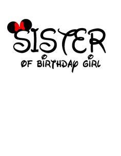 Mickey Sister of Birthday Girl Iron On Vinyl by OwlLittleFamily