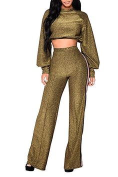 8101092b91d Pink Queen Women s Puff Sleeve Crop Top Palazzo Pant 2 Piece Outfits M Gold  Pallazo Pants