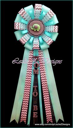 Aqua Safari Elephant Mom to Be Baby Shower Corsage Jungle Theme Pin -Mommy Favor Badge Spa Seafoam Mint Ribbon -Grandma Capia Dad to Be Mum by LezlieZDesigns