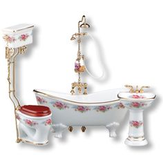 Dresden Rose Bath w/Tub-Shower - The Magical Dollhouse