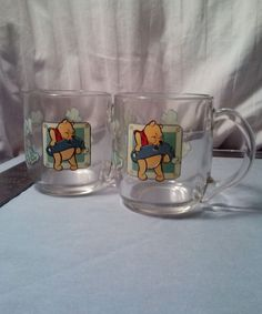 Winnie The Pooh An Adventure Is About To Happen 10oz Glass Cup Set of Two UNIQUE