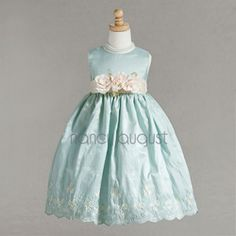 'Mint Girls Easter Dress with a Sprinkle of Flowers'