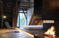 Architectural details. Fire. Lights under floor. Simplicity. And a view.