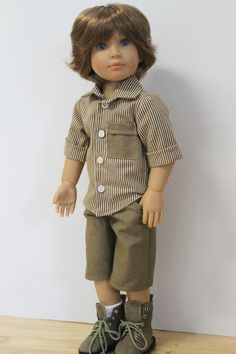 Brown striped shirt / Brown Shorts Separates  Doll by Debsterkay