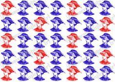 Pop Art Digital Paper - Patterned - Red Blue Vintage Women - Cardmaking - Handmade Stationery - Printable Paper - Collage Sheet