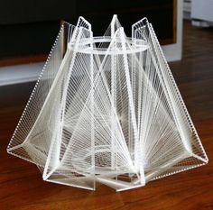 Vintage 1970's Lucite String Art Lamp Hanging Light Fixture Geometric Shape
