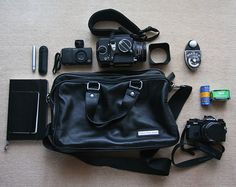 What's In My Bag? by Matt_Lew, via Flickr    (Hasselblad 500CM)