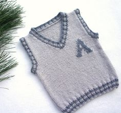 Personalized children's vest, monogram boy's top, knitted baby tank, wool toddler vest, Monogrammed Top Personalized vest kids monogram tank boy Baby Knitting Patterns, Baby Boy Knitting, Baby Boy Vest, Toddler Vest, Baby Boys, Crochet Baby, Crochet Top, Knitted Baby, Monogram Tank