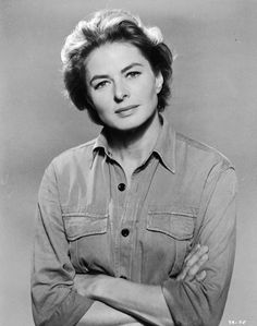 Film star Ingrid Bergman in a simple denim shirt with rolled up sleeves. Get premium, high resolution news photos at Getty Images Golden Age Of Hollywood, Hollywood Stars, Classic Hollywood, Old Hollywood, Hollywood Divas, Hollywood Icons, Swedish Actresses, Hollywood Actresses, Actors & Actresses