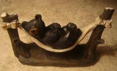So Cute Black Bear in Hammock Log Cabin Rustic Lodge Home Decor New | eBay