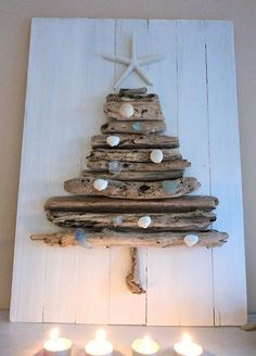 driftwood Christmas tree, decorated with shells, with a starfish topper!