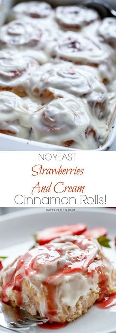 No Yeast Strawberries And Cream Cinnamon Rolls! Soft and fluffy pillows of sweet cinnamon roll dough smothered with a beautiful strawberry syrup, rolled up and covered in the most perfect cream cheese/buttermilk frosting!