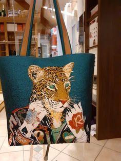 Sac cabas Cabôtin au coupon jacquard léopard cousu par Patricia - Patron Sacôtin