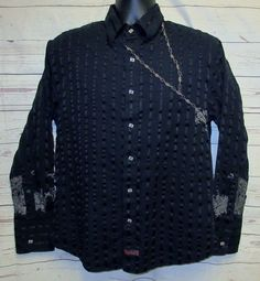 """Fender Rock & Roll Religion Shirt M 42"""" Black Rosary Embroidered Long Sleeve  #Fender #ButtonFront"""