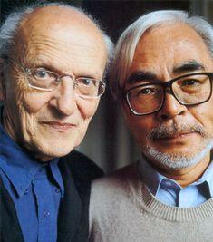 Hayao Miyazaki with the French animation giant Moebius