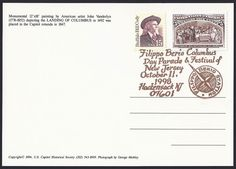 United States Scott #2177 (06 Jun 1988) Buffalo Bill Cody and Scott #2626a (22 May 1992) Columbus soliciting aid of Isabella. Gold ink pictorial cancellation: Filippo Berio Columbus Day Parade & Festival of New Jersey October 11, 1998 Hackensack, NJ. Filippo Berio Olive Oil Company was a sponsor of the event. Postcard: Landing of Columbus in 1492 by John Vanderlyn.
