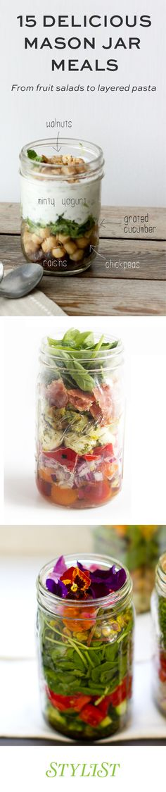 fruit salad to layered pasta: the best meals to prepare in a Mason jar The best meals to prepare in a mason jar from layered salads to pastaThe best meals to prepare in a mason jar from layered salads to pasta Mason Jar Lunch, Mason Jar Meals, Meals In A Jar, Mason Jars, Food To Go, Good Food, Food And Drink, Healthy Snacks, Healthy Eating