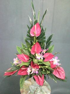 Visit the post for more. Tropical Wedding Centerpieces, Tropical Flower Arrangements, Church Flower Arrangements, Beautiful Flower Arrangements, Beautiful Flowers, Altar Flowers, Church Flowers, Funeral Flowers, Flower Vases