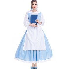 Light Blue Beauty And The Beast Belle Maid Cosplay Costume (1,620 THB) ❤ liked on Polyvore featuring costumes, maid halloween costume, cosplay maid costume, role play costumes, cosplay costumes and maid costume