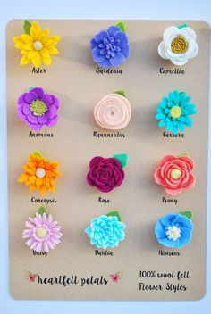 CUSTOM Single Felt Flower Magnet 100% Wool Felt by heartfeltpetals
