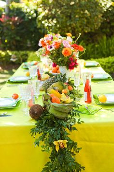 Fruit used in a centerpiece | Fun & Colorful Lilly Pulitzer Wedding Ideas